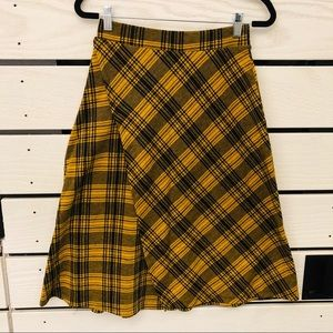 Zara High Waisted Plaid Midi Skirt